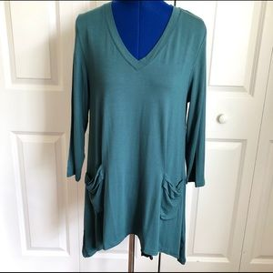 LOGO teal tunic with front pockets